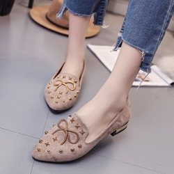 Bow Rivet Block Heel Women's Casual Shoes