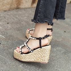 Rhinestone Beads Platform Strappy Wedge Sandals