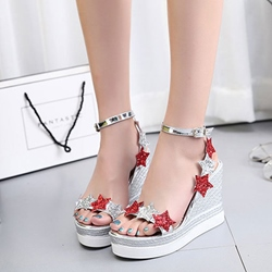 Sequin Platform Ankle Strap Wedge Sandals