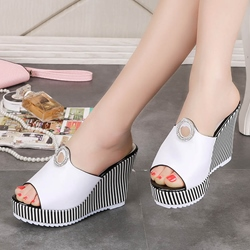 Rhinestone Slip-On Wedge Heel Mules