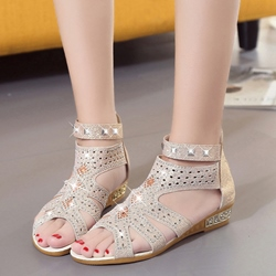 Rhinestone Open Toe Heel Covering Flat Sandals