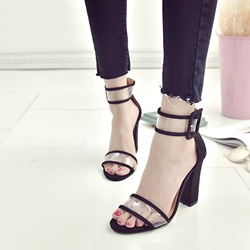 Patchwork Chunky Heel Sandals