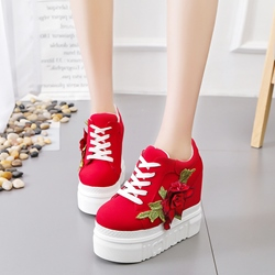 Platform Floral Lace-Up Casual Shoes