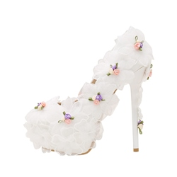 Floral Platform White Wedding Shoes
