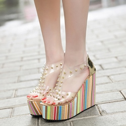 Jelly Rivet Open Toe Wedge Sandals