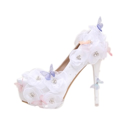 Rhinestone Platform White Wedding Shoes