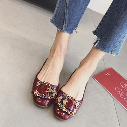 Rhinestone Buckle Women's Loafers