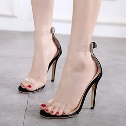 Jelly Line-Style Buckle Open Toe Stiletto Heels