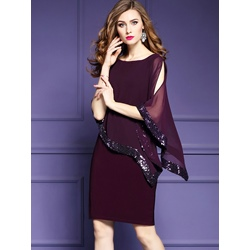 Shoespie Purple Patchwork Sequins Women's Bodycon Dress
