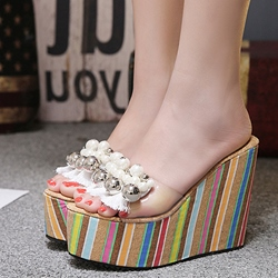 Beads Fringe Flip Flop Platform Wedge Sandals