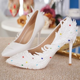 White Beads Slip-On Wedding Shoes