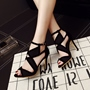 Black Peep Toe Buckle Stiletto High Heels
