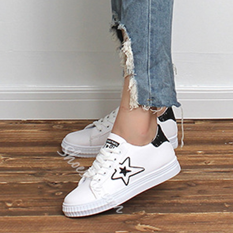 Sequin Star Lace-Up Women's Sneakers