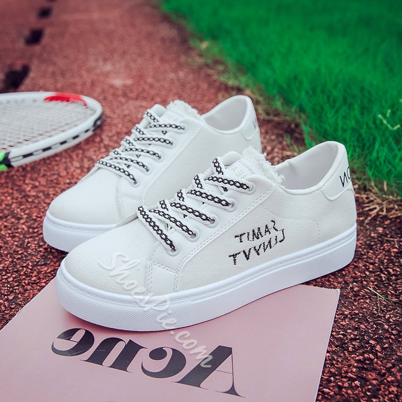 Letter Lace-Up Women's Sneakers