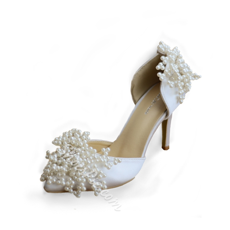 Beads Stiletto Heel Slip-On Wedding Shoes