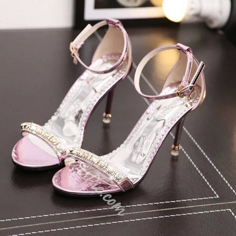 Rhinestone Stiletto Heel Open Toe Dress Sandals