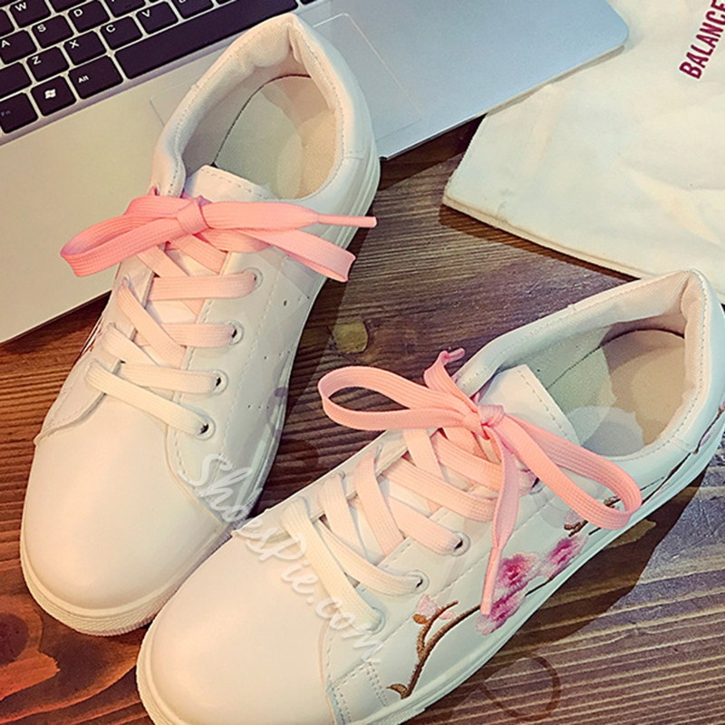 Embroidery Floral Lace-Up Women's Sneakers