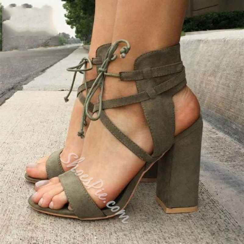 Plain Lace-Up Chunky Heel Sandals