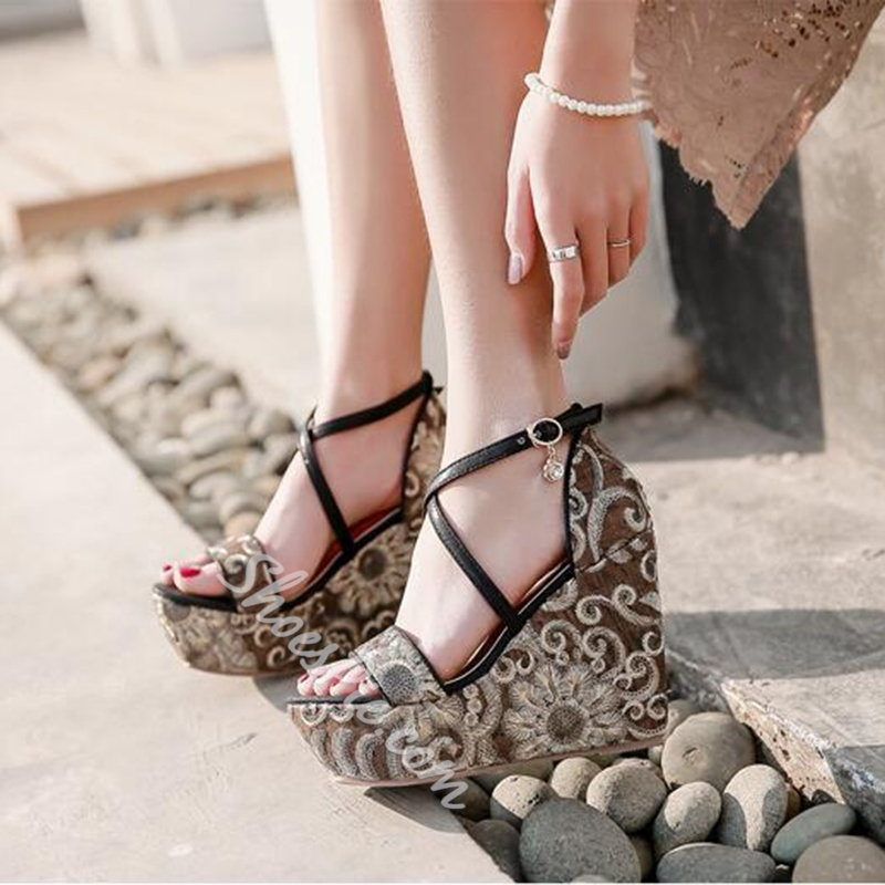 Summer Rhinestone Sequin Platform Wedge Sandals