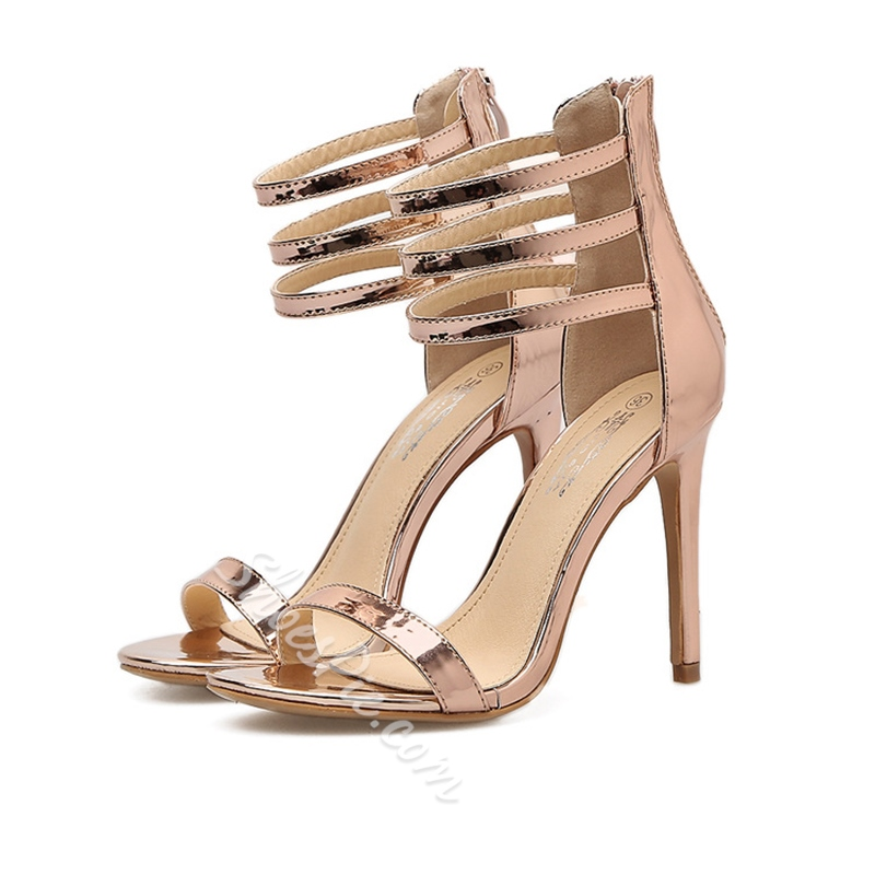 New Arrival Champagne Stiletto Heel Dress Sandals