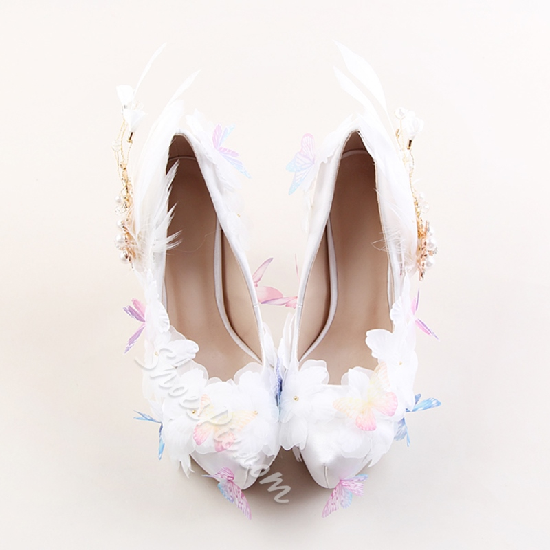 Beads Platform White Wedding Shoes