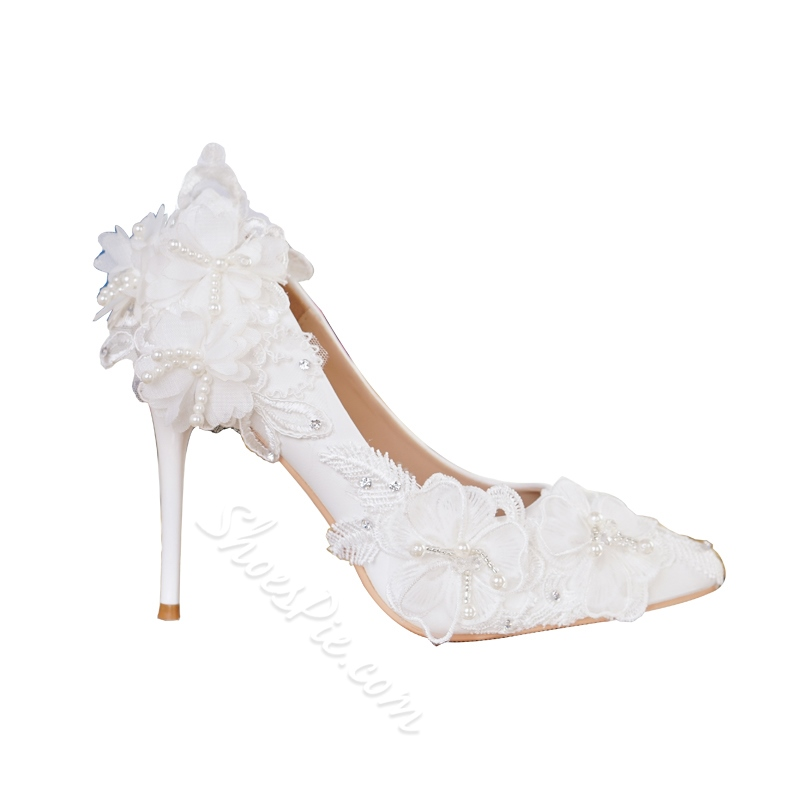 White Beads Stiletto Heel Wedding Shoes