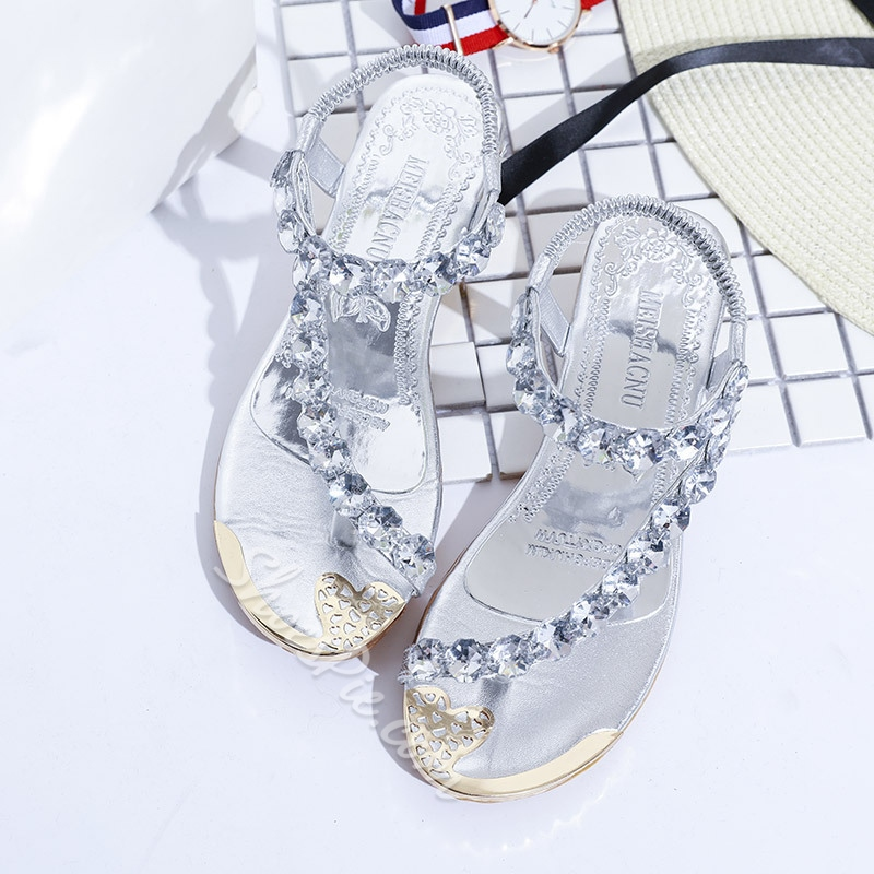 Elastic Band Rhinestone Strappy Toe Ring Flat Sandals