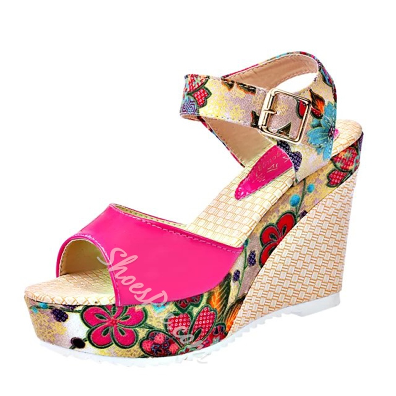 Floral Print Wedge Heel Sandals