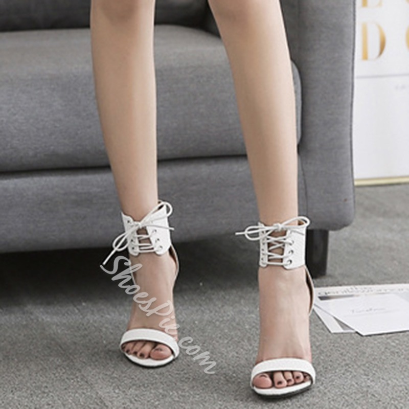 Banquet Lace-Up Stiletto Heel Open Toe Dress Sandals