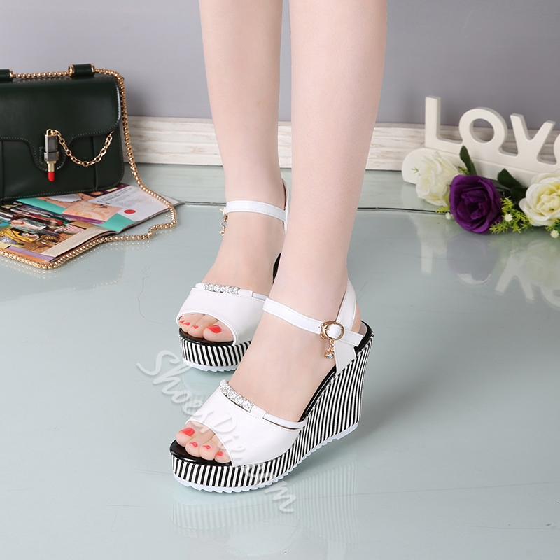 Plain Rhinestone Wedge Heel Sandals