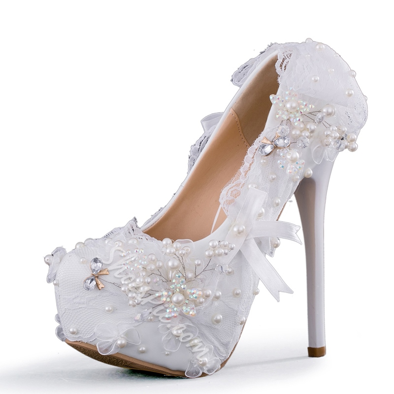 White Platform Stiletto Heel Wedding Shoes