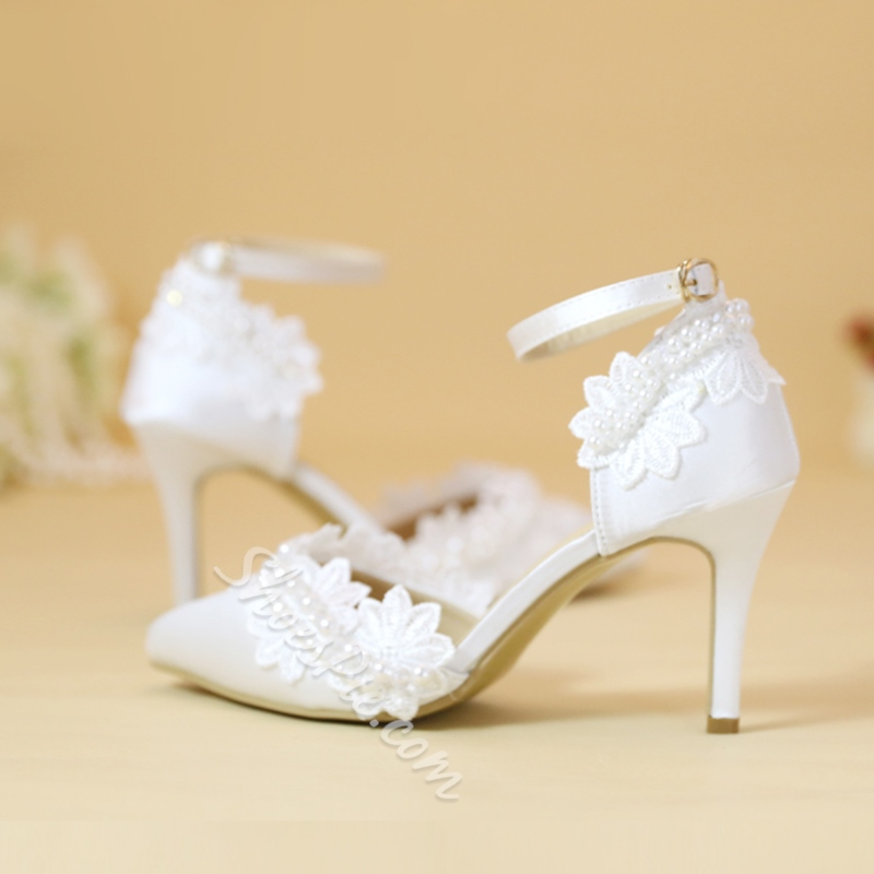 Line-Style Buckle Beads Wedding Shoes