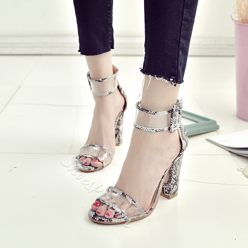 Jelly Sexy Patchwork High Heel Sandals
