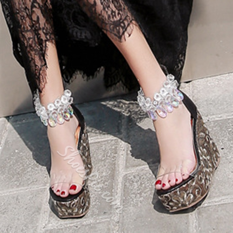 Rhinestone Platform Open Toe Casual Wedge Sandals