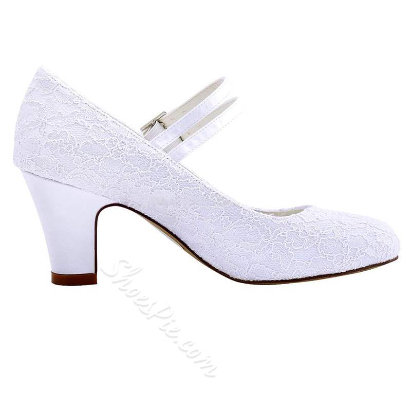 Shoespie White Buckle Round Toe Chunky Heel Wedding Bridal Shoes