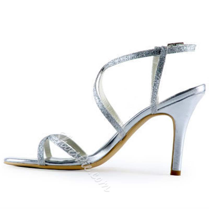 Shoespie Silver Sexy Ankle Strap Stiletto Heel Slip-On Wedding Bridal Shoes