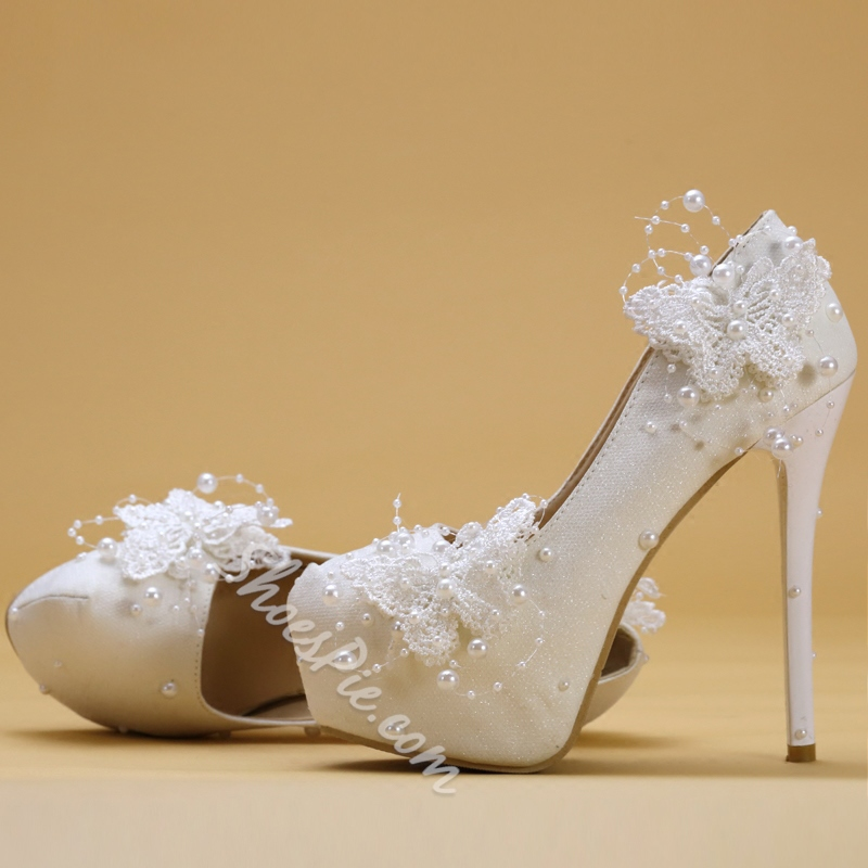 White Platform Beads Wedding Shoes