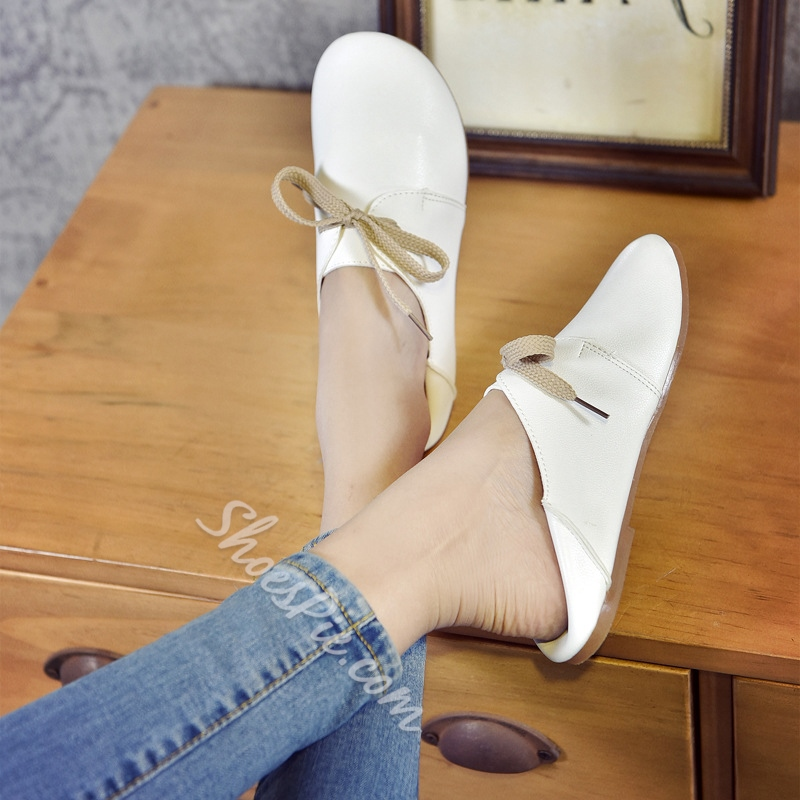 Block Heel Lace-Up Women's Casual Shoes