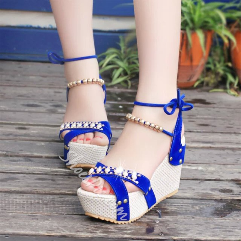 Beads Lace-Up Ankle Strap Wedges