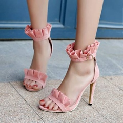 Falbala Stiletto Heel Open Toe Dress Sandals