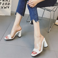 Patchwork Jelly High Heel Mules