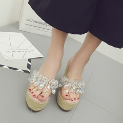 Beads Lace Wedge Heel Sandals