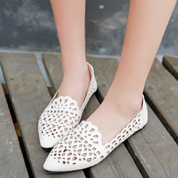 Hollow Pointed Toe Women's Loafers