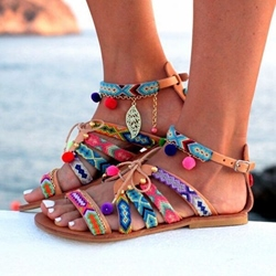 National Style Lace-Up Flat Sandals