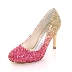 Sequin Round Toe Slip-On Wedding Shoes