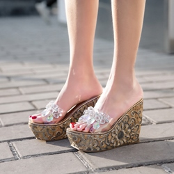 Rhinestone Platform Wedge Heel Sandals