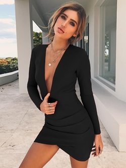 Long Sleeve Backless Women's Bodycon Dress
