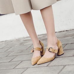 Plain Buckle Pointed Toe Chunky Heels