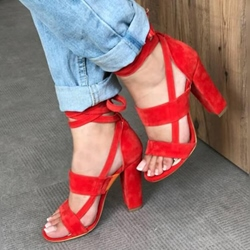 Lace-Up Chunky Heel Open Toe Dress Sandals
