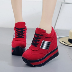 Hidden Elevator Heel Lace-Up Sneakers
